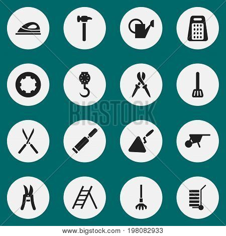 Set Of 16 Editable Equipment Icons. Includes Symbols Such As Pliers, Bailer, Shredder And More