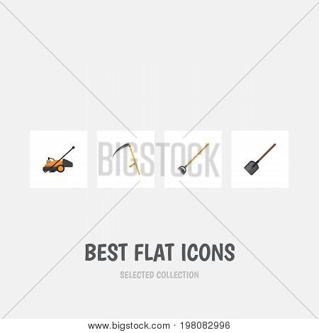 Flat Icon Garden Set Of Lawn Mower, Shovel, Cutter And Other Vector Objects