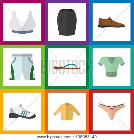 Flat Icon Dress Set Of Banyan, Male Footware, Sneakers And Other Vector Objects