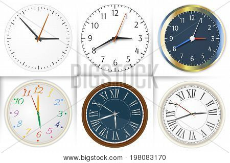 Set of wall clock. Watch and circle, symbol, second and minute. Set of different styles. Vector illustration isolated on white background. Eps 10