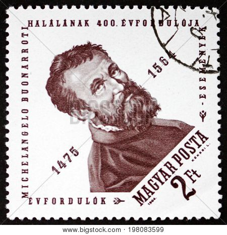 HUNGARY - CIRCA 1964: a stamp printed in Hungary shows Michelangelo Buonarroti Italian Sculptor Painter and Architect circa 1964