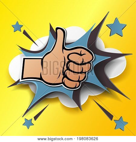 Cartoon hand silhouette with thumb up. Gesture of like, agree, yes, approval or encouragement. Vector illustration with dropped shadow in pop art style and paper stylization