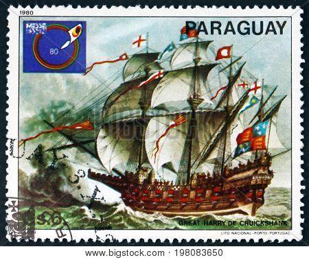 PARAGUAY - CIRCA 1980: a stamp printed in Paraguay shows Great Harry of Cruickshank Sailing Ship circa 1980