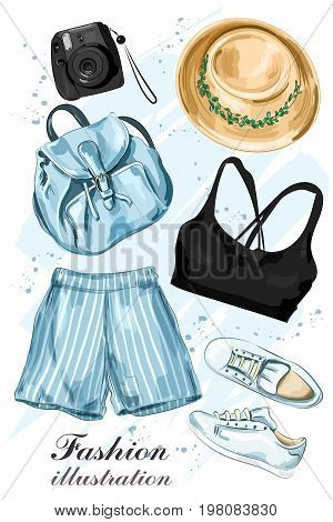Stylish summer clothing set with hat, shorts, crop top, shoes, backpack and photo camera. Fashion clothes. Sketch. Vector illustration.