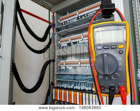 Electronic multimeter ready for measurements. Electrician tool.