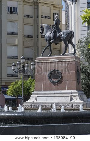 Cordoba, SPAIN -  july 9, 2017: Monument to the Great Captain is a piece dedicated to Gonzalo Fernández de Córdoba