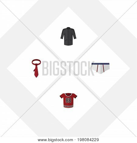 Flat Icon Garment Set Of T-Shirt, Underclothes, Uniform And Other Vector Objects