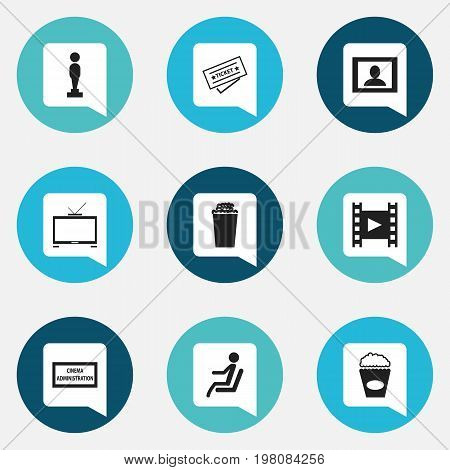 Set Of 9 Editable Filming Icons. Includes Symbols Such As Camera Strip, Seat, Oscar And More