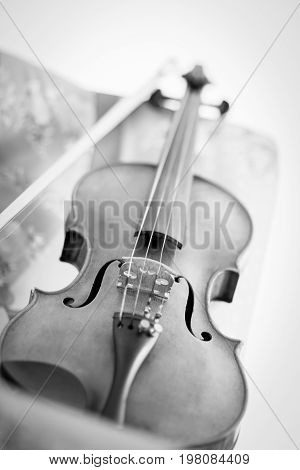 Black and white photograph of an Old Violin