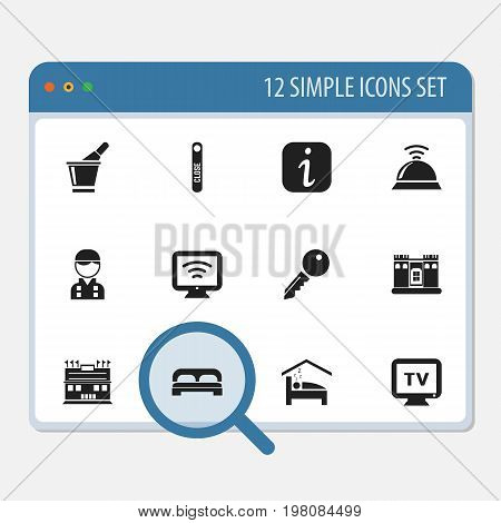 Set Of 12 Editable Plaza Icons. Includes Symbols Such As Monitor, Wireless Tv, Residence And More