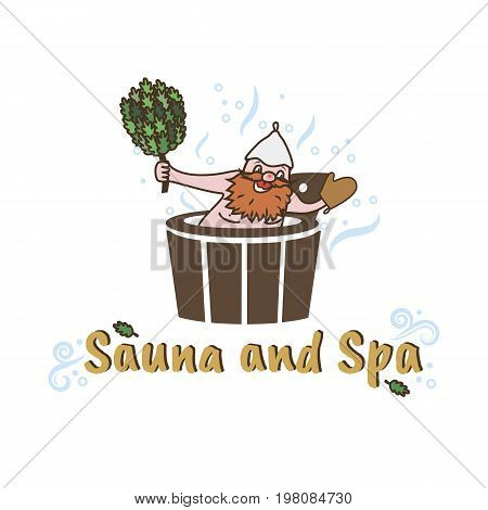 Vector logo template for sauna and Spa or bath. Illustration of a man sitting in a barrel with a broom for a bath. Creative logotype. EPS10.