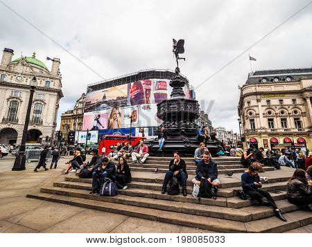People In Piccadilly Circus In London (hdr)