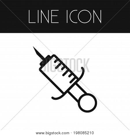 Prick Vector Element Can Be Used For Immunization, Prick, Syringe Design Concept.  Isolated Immunization Outline.