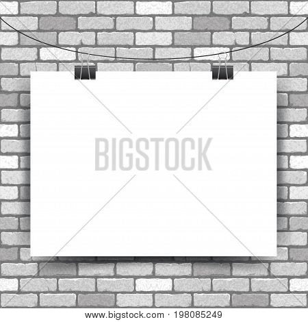 Vector illustration of a white horizontal poster hanging on clerical clips on a white brick wall background