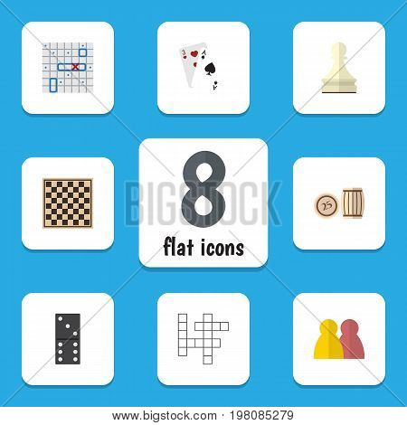 Flat Icon Play Set Of Guess, Pawn, Chess Table And Other Vector Objects
