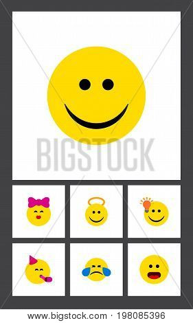 Flat Icon Face Set Of Joy, Angel, Have An Good Opinion And Other Vector Objects