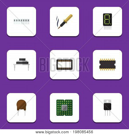 Flat Icon Electronics Set Of Receiver, Memory, Destination And Other Vector Objects