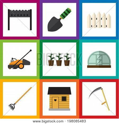 Flat Icon Garden Set Of Cutter, Hothouse, Trowel And Other Vector Objects