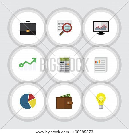 Flat Icon Finance Set Of Billfold, Document, Bubl And Other Vector Objects