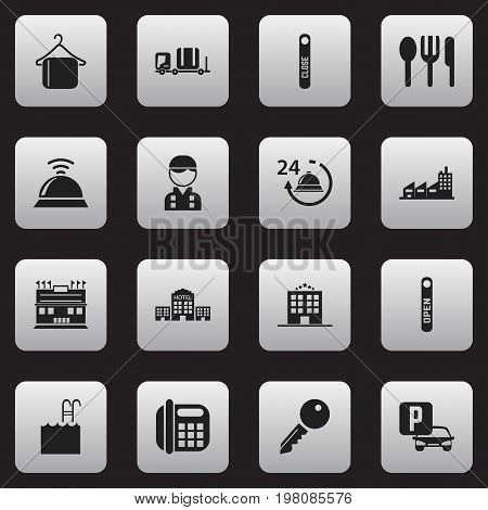 Set Of 16 Editable Motel Icons. Includes Symbols Such As Open Sign, Residence, Townhouse And More
