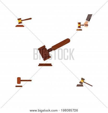 Flat Icon Court Set Of Court, Defense, Crime And Other Vector Objects