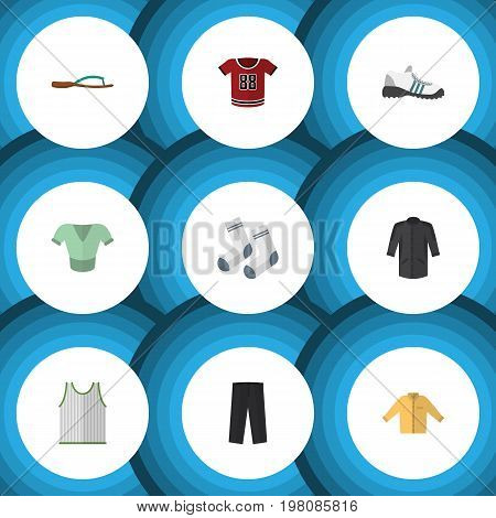 Flat Icon Garment Set Of Foot Textile, Banyan, Sneakers And Other Vector Objects