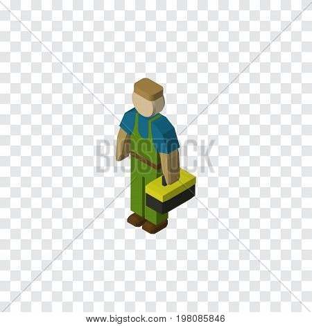 Plumber Vector Element Can Be Used For Worker, Plumber, Technician Design Concept.  Isolated Worker Isometric.