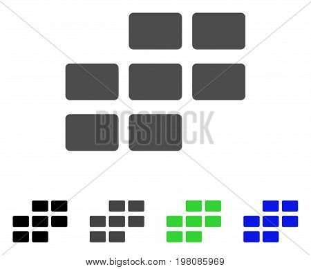 Calendar Rectangle Grid flat vector icon. Colored calendar rectangle grid, gray, black, blue, green pictogram variants. Flat icon style for graphic design.