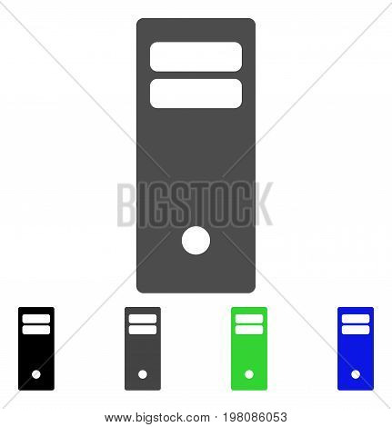 Computer Mainframe flat vector illustration. Colored computer mainframe, gray, black, blue, green icon variants. Flat icon style for graphic design.