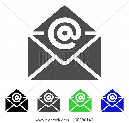 Email flat vector pictograph. Colored email, gray, black, blue, green icon variants. Flat icon style for web design.