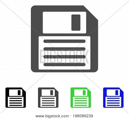 Floppy Disk flat vector pictograph. Colored floppy disk, gray, black, blue, green pictogram variants. Flat icon style for graphic design.