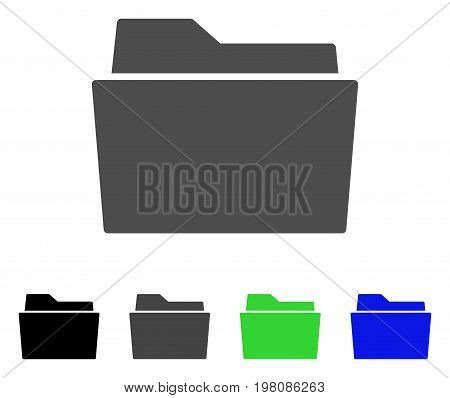 Folder flat vector illustration. Colored folder, gray, black, blue, green pictogram versions. Flat icon style for application design.