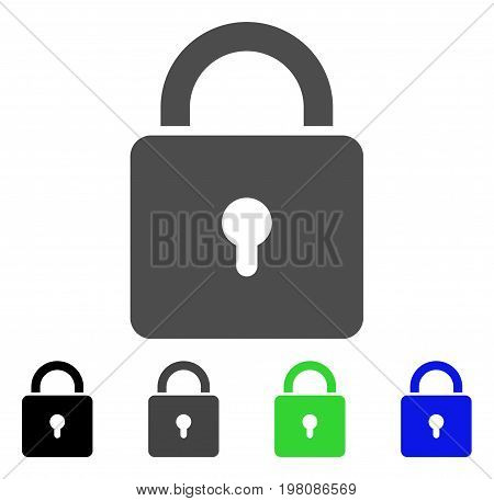 Lock flat vector pictograph. Colored lock, gray, black, blue, green pictogram versions. Flat icon style for graphic design.