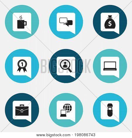 Set Of 9 Editable Bureau Icons. Includes Symbols Such As Conversation, Money Bag, Portfolio And More