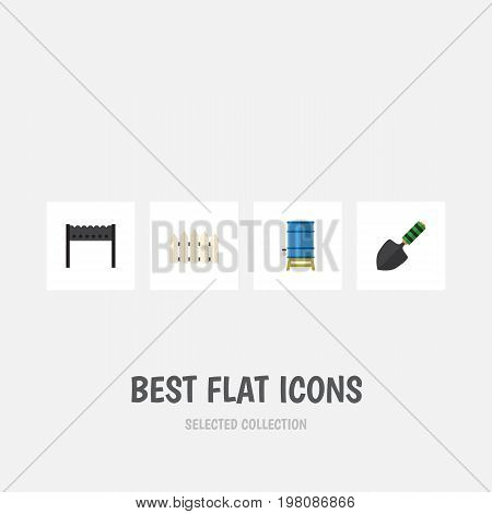 Flat Icon Farm Set Of Barbecue, Wooden Barrier, Container And Other Vector Objects
