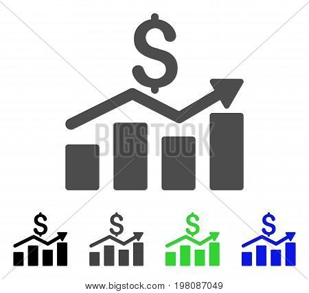 Sales Chart flat vector pictograph. Colored sales chart, gray, black, blue, green pictogram variants. Flat icon style for web design.