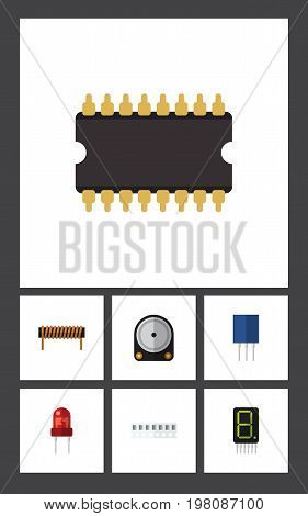 Flat Icon Technology Set Of Display, Memory, Receptacle And Other Vector Objects
