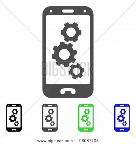 Smartphone Settings Gears flat vector illustration. Colored smartphone settings gears, gray, black, blue, green icon versions. Flat icon style for graphic design.