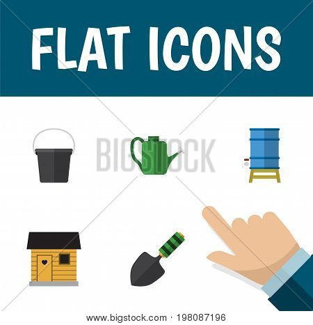 Flat Icon Dacha Set Of Container, Stabling, Pail And Other Vector Objects