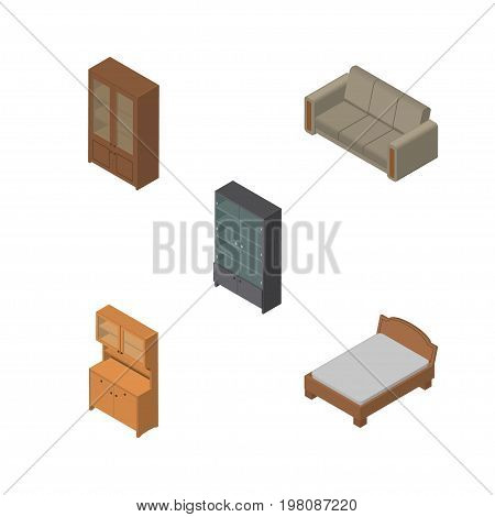 Isometric Design Set Of Sideboard, Cabinet, Cupboard And Other Vector Objects