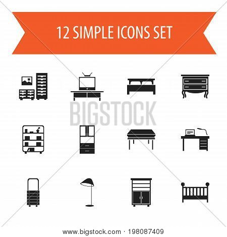 Set Of 12 Editable Interior Icons. Includes Symbols Such As Wardrobe, Tv, Child Cot And More