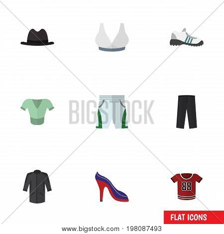Flat Icon Garment Set Of Casual, Heeled Shoe, Trunks Cloth And Other Vector Objects