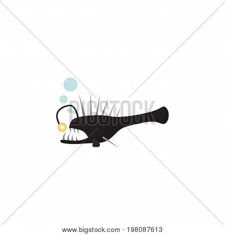 Fish Vector Element Can Be Used For Melanocetus, Angler, Fish Design Concept.  Isolated Anglerfish Flat Icon.