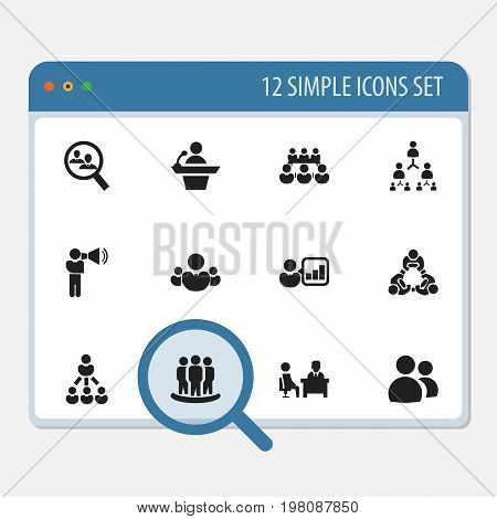 Set Of 12 Editable Business Icons. Includes Symbols Such As Leader, Human Resouces, Introducing And More