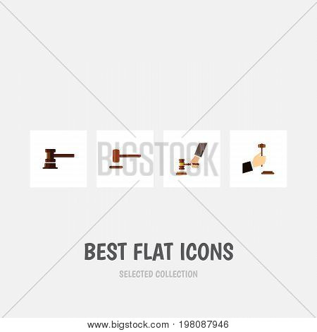 Flat Icon Lawyer Set Of Defense, Crime, Government Building And Other Vector Objects