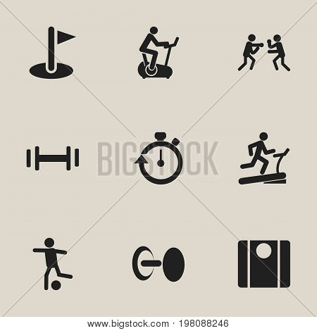 Set Of 9 Editable Sport Icons. Includes Symbols Such As Racetrack Training, Heft, Training Bicycle And More
