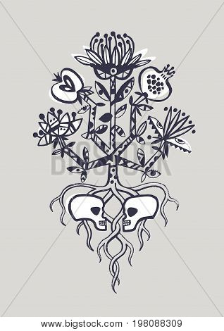 The tree of life. Life and death, lover's sculls
