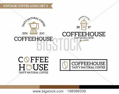 Unique coffee and tea logotype design template.