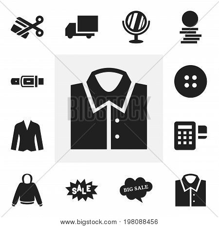 Set Of 12 Editable Business Icons. Includes Symbols Such As Pullover, Hard Money, Delivery And More