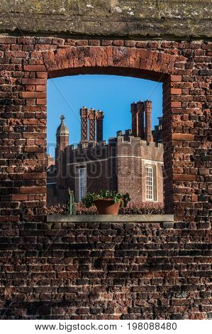 Detail Of Tudor Architecture Exterior Wall And Rooftop